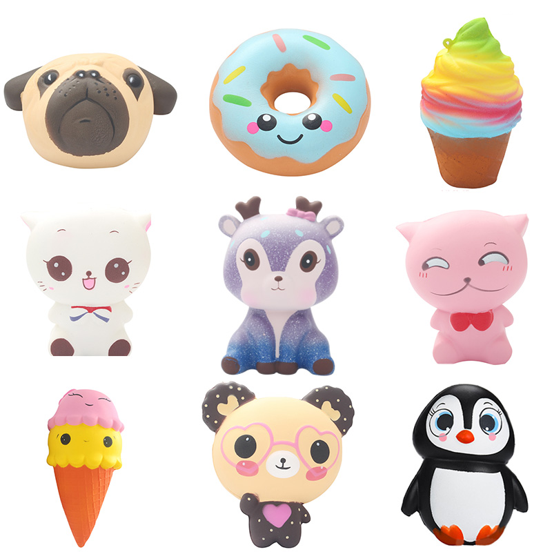 Joyyifor Squishy Unicorn Slow Rising Ice Cream Cake Marshmallow Penguin Dog Animal Extruded Toy Fun Novelty Anti-falling Gift hombres g cap roig
