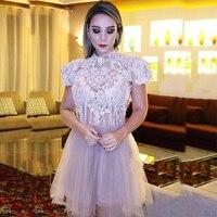 Роскошное кружевное короткое платье с бисером облегающее платье без рукавов рукава фатиновые платья для выпускного вечера индивидуальный