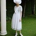 ЛИНЕТТ CHINOISERIE Весна лето новый свежий белый вышивка лук с коротким рукавом жидкости цельный dress