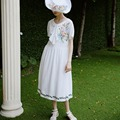 Chinoiserie de lynette primavera verão novo fluido fresco branco bordado arco curto-manga one piece-dress