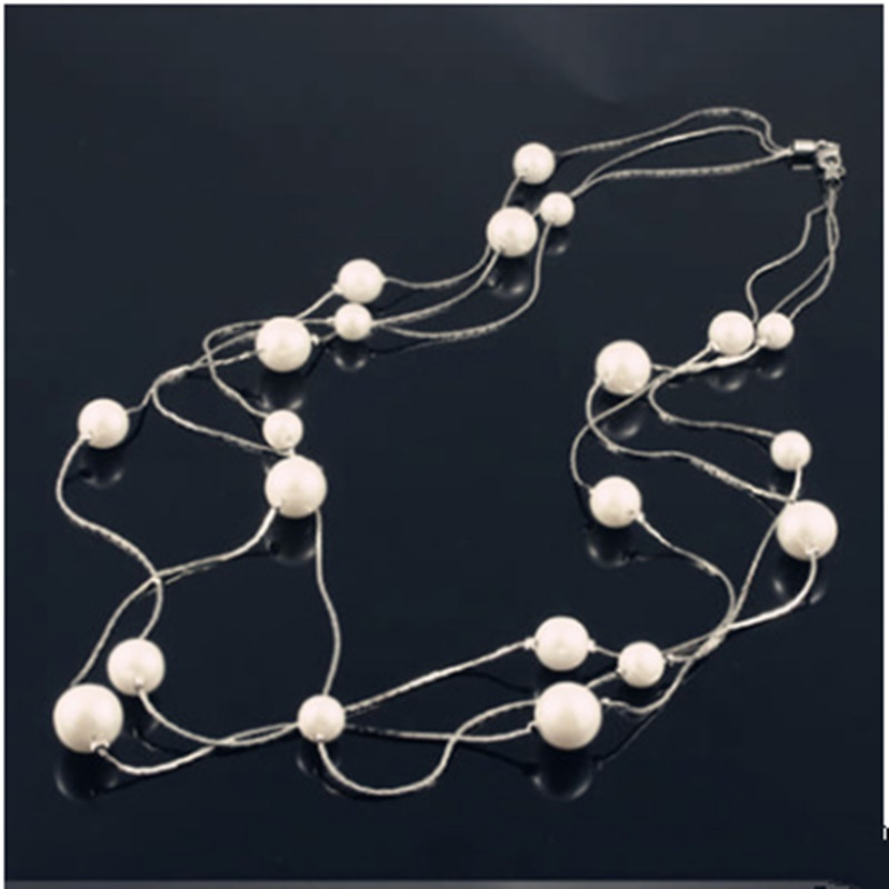 hot selling long wire connected ball positioning beads multilayer Bohemia sweater chain necklace 0012