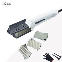 Buy Hot Selling Multifunctional ceramic Double Voltage Hair Straightener curling Hair Curler Corrugated Iron With 4 Plate with Glove