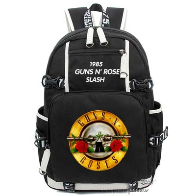 Hot Anime Guns N Roses Backpack Cosplay Fashion Rock Canvas Bag Luminous Schoolbag Travel Bags