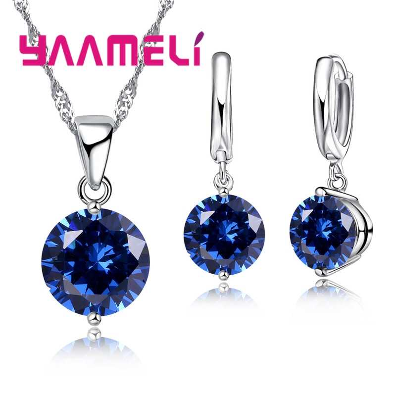 YAAMELI Women Trendy Necklace Earrings Set Fashion 925  Silver Crystal Wedding Engagement Jewelry Set  Brides Wholesale 8 color