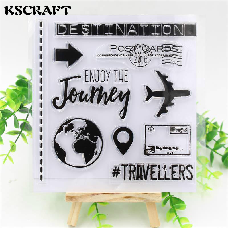 KSCRAFT Journey Transparent Clear Silicone Stamp/Seal for DIY scrapbooking/photo album Decorative clear stamp sheets kscraft love travelling transparent clear silicone stamp seal for diy scrapbooking photo album decorative clear stamp sheets