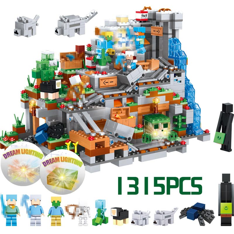My World Series 1315Pcs Mechanism Cave Building Blocks Compatible LegoINGly Minecrafted Action Figures Bricks Toys For Children