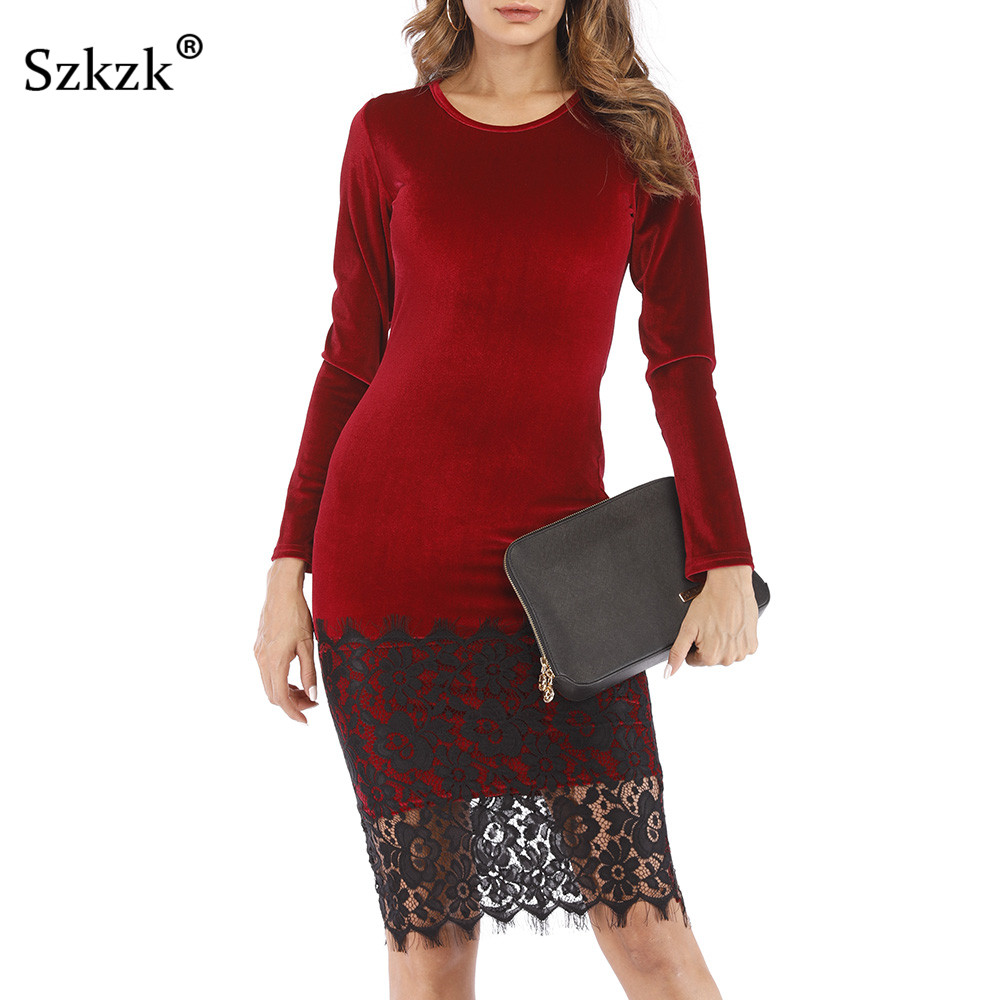 bdfaf44e0f Szkzk Lace Velvet Dress Women New 2019 Spring Casual Party Vestidos Long  Sleeve O Neck Wine Red Green Black Midi Bodycon Dress