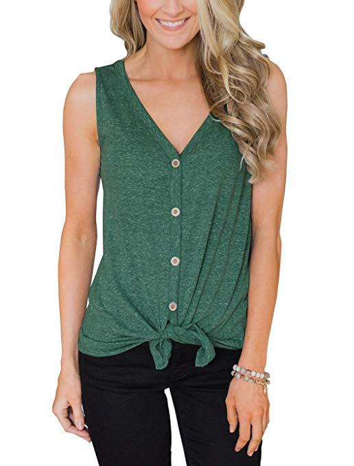 T-Shirts Blouse Vest Tees Tops Button Loose Vintage Summer Sexy Casual Fashion Women