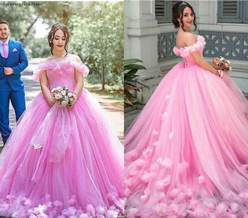 Розовые Длинные свадебные платья принцессы с открытыми плечами и открытой спиной для загородного сада, торжественные свадебные платья нев