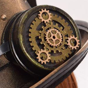 Image 5 - Steampunk czapki gotyckie ucho kota gogle melonik Topper Fedora Party akcesoria świąteczne