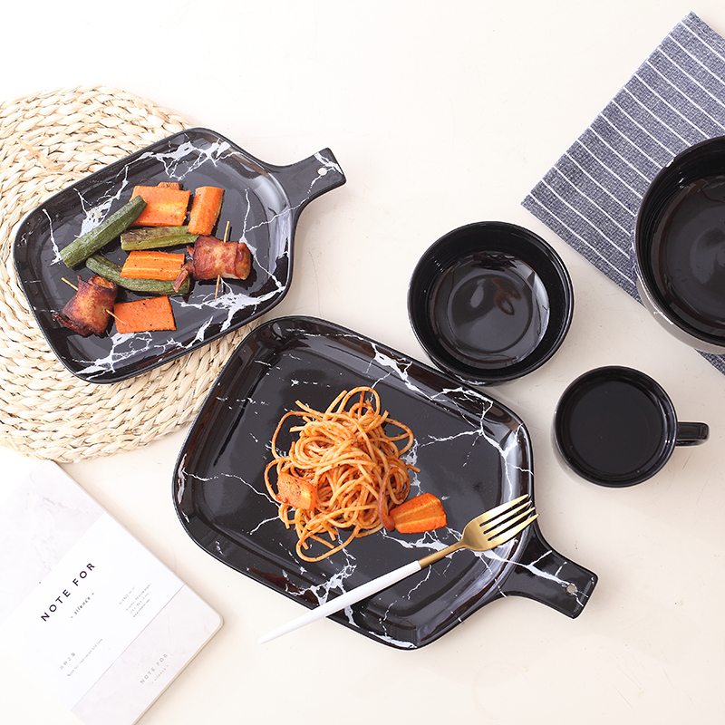 New Creative European Style Marble Pattern Ceramic Tableware Porcelain Plate Dish Platter Bowl Cutter Board Dinnerware Set