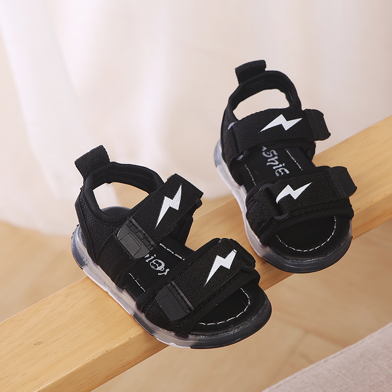 New Summer Baby Boy Girl Breathable Anti-Slip LED Luminous PU Shoes Sandals Toddler Soft Soled Kids Shoes