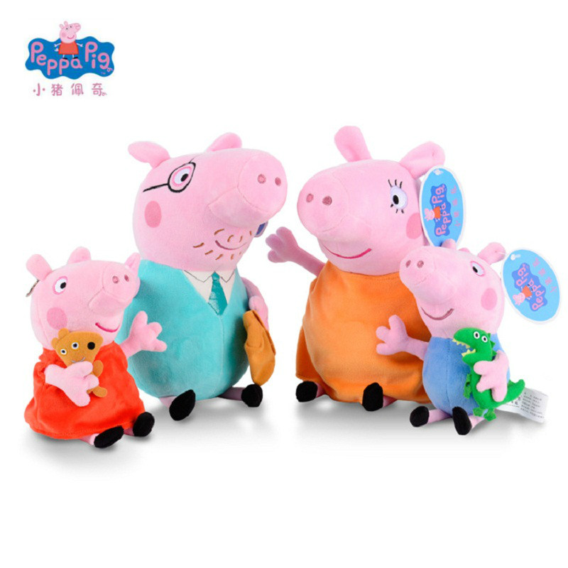 Peppa Pig Stuffed Plush Toys 19cm Peppa George Pig Family Party Dolls For Girls Gifts Animal Plush Toys Original Brand peppa pig peppa pig s family computer