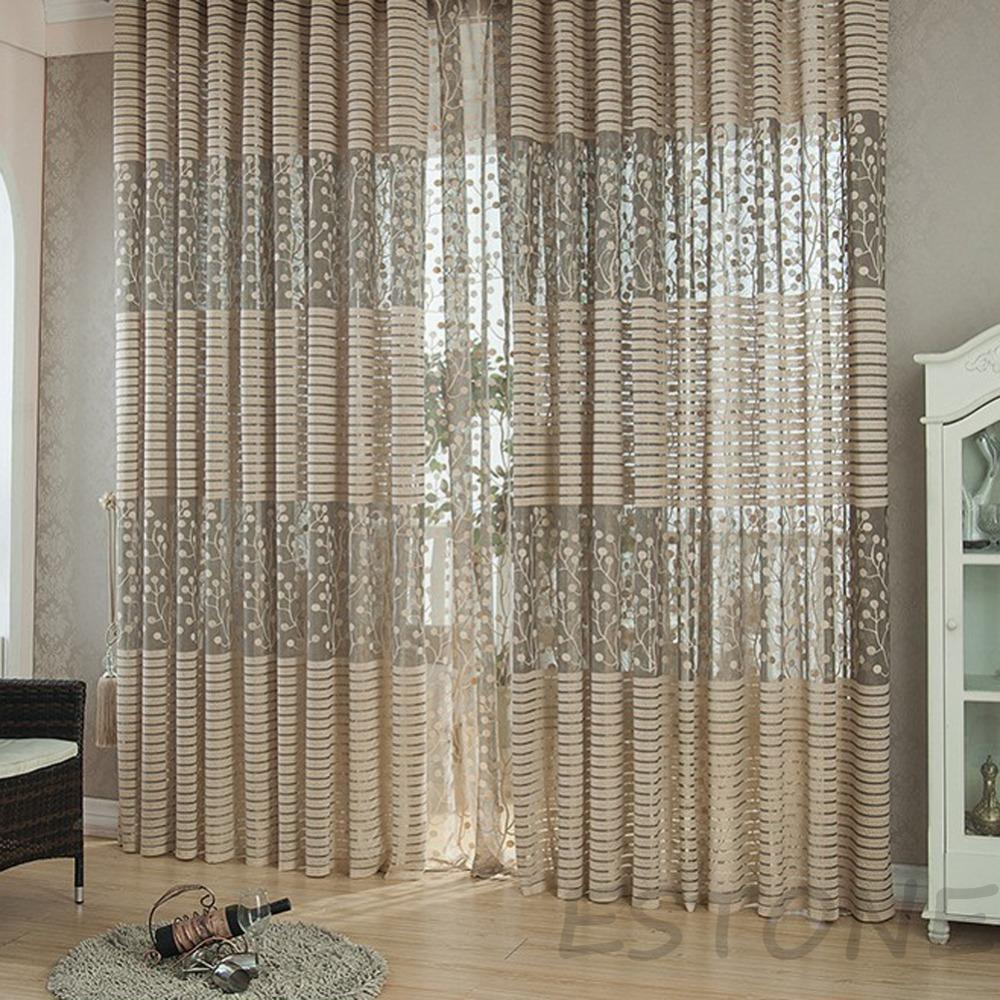 Hot Grey Striped Pachira Drape Balcony Bedroom Living Room Window ...