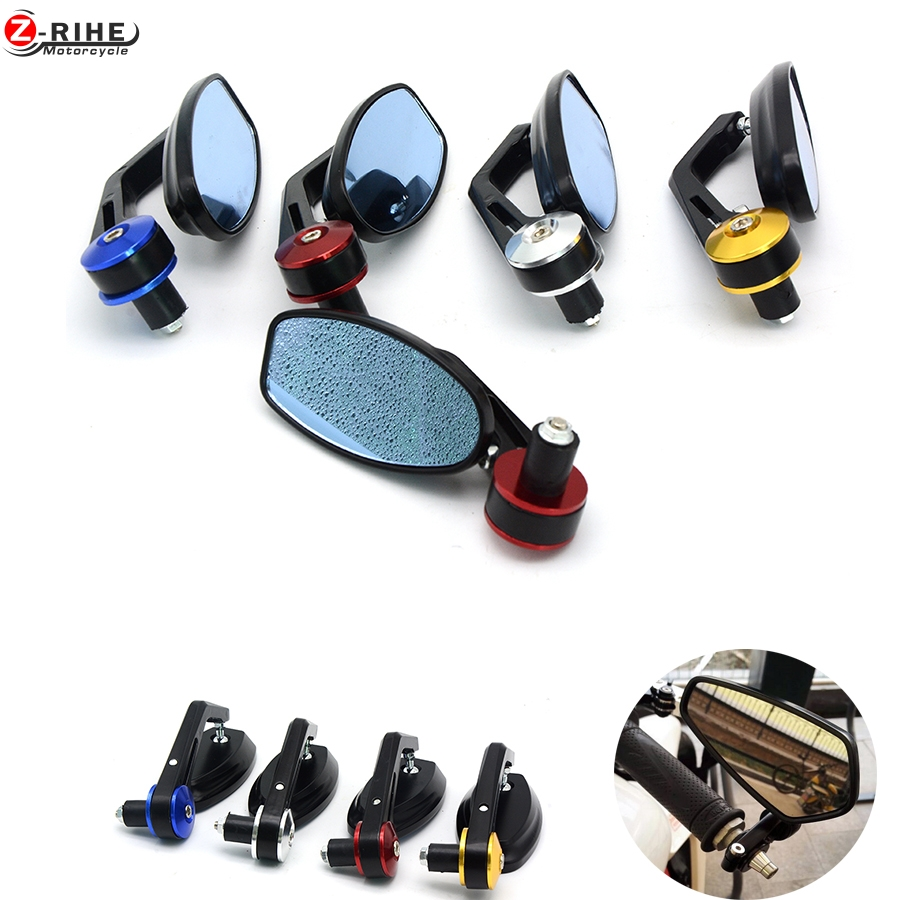 for 1 Pair 7/8 22mm Handlebar Motorcycle Bar End Rearview Side Mirror Modified Bend Rod Accessories Universal Scooter z800 z900
