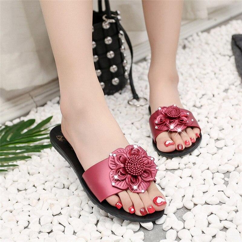 Summer Sweet Flower Pattern Shoes Women Flat Flip Flops Sandals Beach Slippers Ladies fashion personality flower slippers