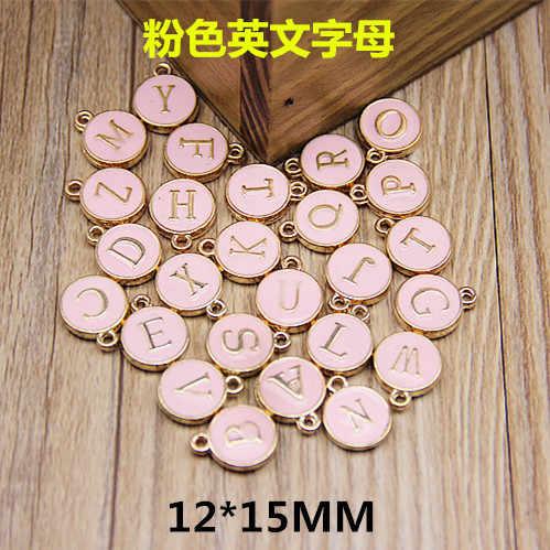 10 sztuk 12*15MM okrągłe metalowe złoto emalia alfabet charms moda kolor litera koraliki początkowej wisiorki biżuteria ze stopu, dzięki czemu