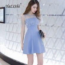 YaLiShi, летнее голубое платье с круглым вырезом, без рукавов, а-силуэт, Сексуальные вечерние платья, облегающие платья с блестками, женское платье