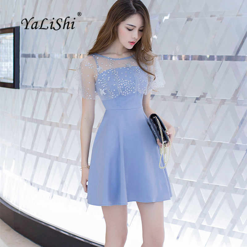 YaLiShi 2020 Sommer Blau Oansatz Sleeveless A-Line Kleid Sexy Party Verband Bodycon Gaze Pailletten Kleider Frauen Vestido Mujer