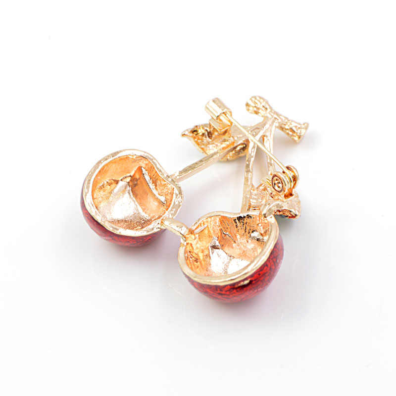 Muda Tulip Merah Enamel Cherry Bros untuk Wanita Buah A Bros Pin 2 Warna Tersedia Fashion Perhiasan Aksesoris Klasik