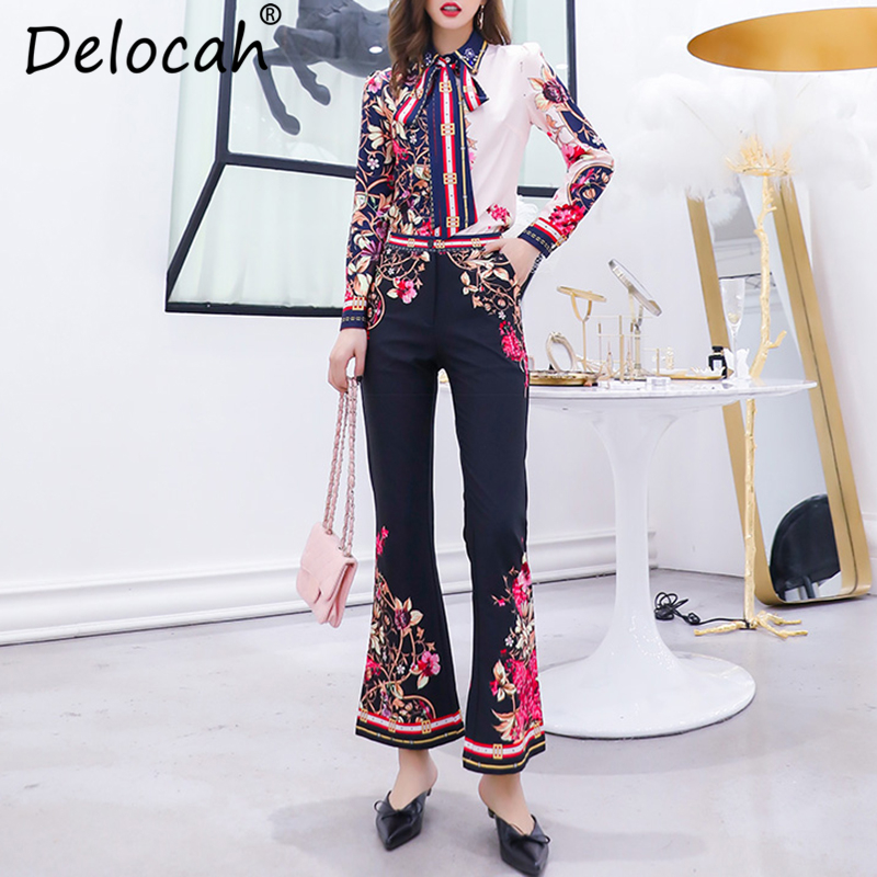 Delocah Autumn Women Set Runway Fashion Designer Long Sleeve Simple Bow Flower Printed Shirt Vintage Wide