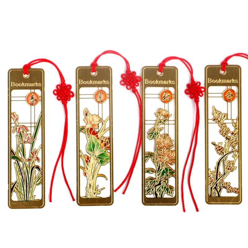 4Pcs/Set Chinese Ancient Style Colorful Four Seasons Hollow Metal Bookmark Book Holder Gift Stationery