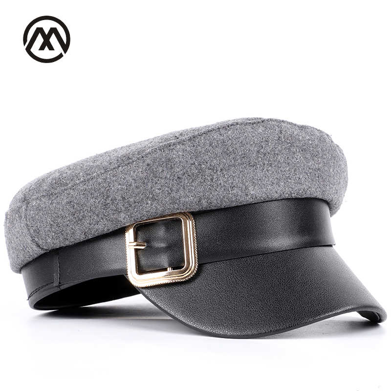 f3685ea7e Fashion metal buckle washed cotton flat top hats solid color military cap  men's and women's general visor army Kepi caps male