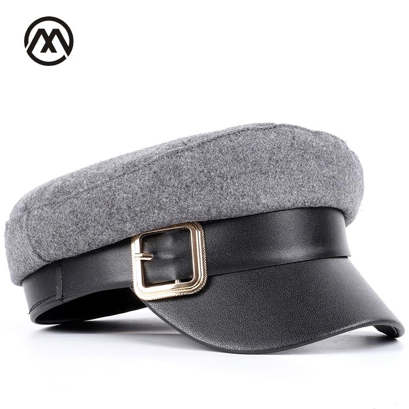 De metal de moda hebilla de algodón plana sombreros de color sólido gorra  militar de los hombres y las mujeres de general del Ejército kepi de hombre 06a8349aafc