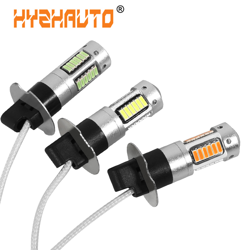 HYZHAUTO 2Pcs H3 LED Car Fog Lights 4014 SMD 30 LED H3 Auto Fog Lamp DRL Driving Light 6000K White Yellow Ice Blue DC12V