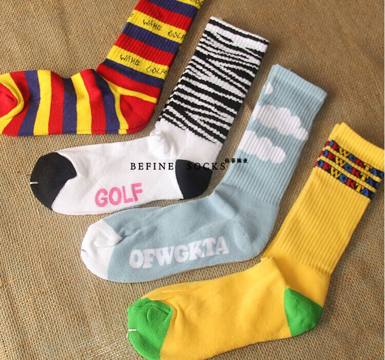 a4b936503c16 Odd Future OFWGKTA Golf Wang Striped Cloud Tiger Crew Socks Double Layer  Thicker Terry Socks