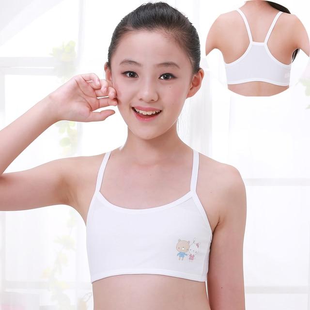Young Girl Teen Underwear Training Bra Thin Strap With Cup Pad Kids Children Cotton Underwear Vest