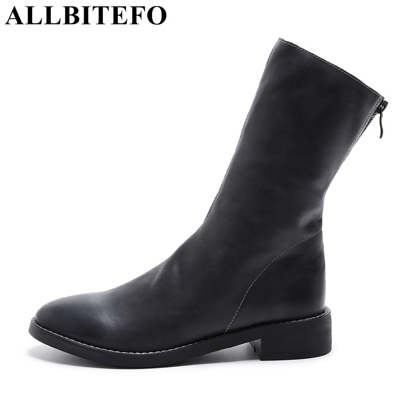 ALLBITEFO genuine leather round toe low-heeled women boots fashion brand thick heel high quality ankle boots martin boots 4 colors round toe charm high heel genuine leather platform martin ankle boots fashion western high quality short womne boots