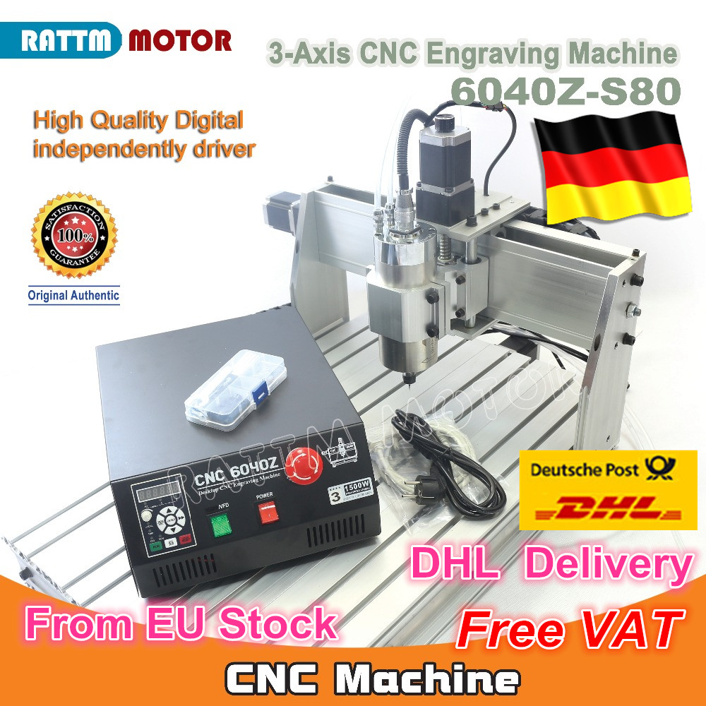 EU Ship free VAT 3 Axis Mach3 6040Z-S80 1500W 1.5KW Spindle Motor CNC Router Engraver Engraving Cutting Milling Machine 220VAC ship from eu cnc router rotary axis for 50w 60w 80w 100w laser engraving cutting machine cutter engraver