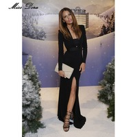 New 2016 Woman Elegant Black Deep Vneck Mermaid Bottom Front Splitting Red Carpet Gown Maxi Long