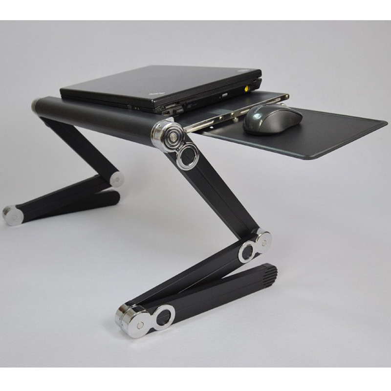 Multipurpose Folding Height Adjustable Table Desk With Plastic Mouse And  Aluminum Mouse Pad Black Color