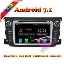 Reproductor de DVD 2G + 16 GB Android 7,1 de cuatro núcleos para PC de coche para Benz Smart 2012-2013 navegación estéreo GPS USB/SD AUX en doble Din