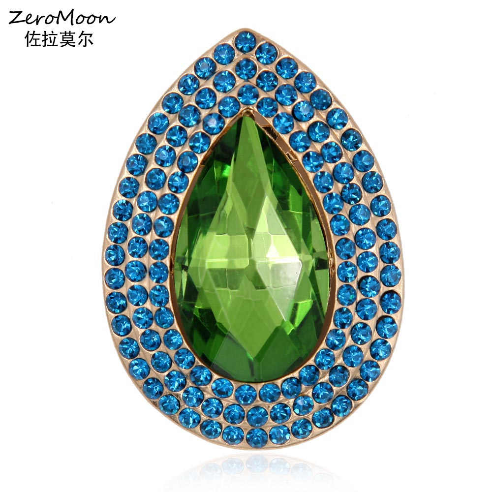 Luxury Crystal Rhinestone Teardrop Brooch Pin Metal Geometrical Shape - Fashion Jewelry