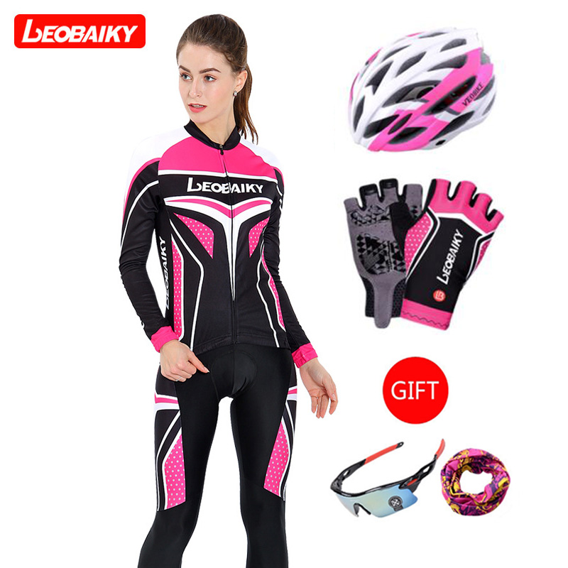 LEOBAIKY Pro Team Sport Wear MTB Cycling Jersey Set Running Tights Men Women Cycling Set Clothing Pants Long-Sleeved Riding Suit