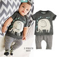 Toddler Baby Boys Clothes Elephant Print Tops T-Shirt Pants Outfits Sets