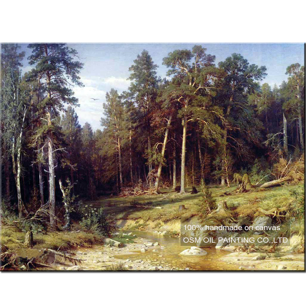 Hand Painted High Quality Russian Landscape Oil Painting Wall Decor Imitation Paintings Ivan I Shishkin Art Works Tree Painting in Painting Calligraphy from Home Garden