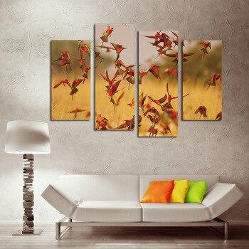4 шт., Картина на холсте с изображением красных птиц