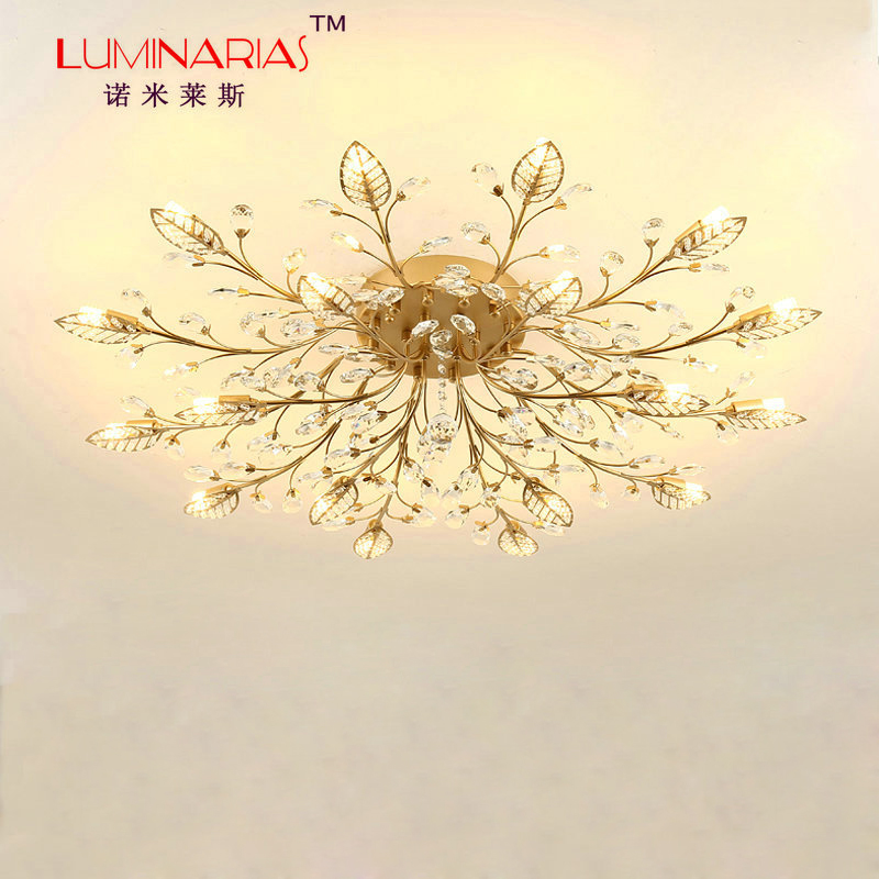 American Country Vintage Crystal Ceiling light Branch Ceiling lamp Living room Dinning Room Lighting AC110V 220V E12 E14