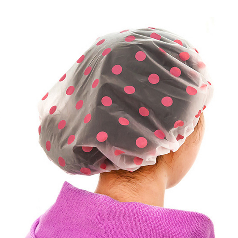 2PCS Waterproof Fashion Dot Shower Cap Beauty Town Beauty Care Accessories Bath Caps Hotel Shower Hat Bathing Hats
