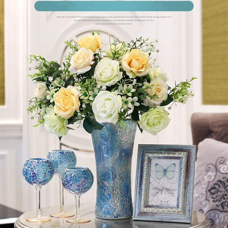 Livraison gratuite artificielle Rose fleur Bouquet verre Vase décoration de la maison de mariage événement et fête ami faveur cadeau bougeoir