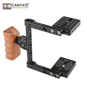 Image 4 - CAMVATE هيكل قفصي الشكل للكاميرا الإفراج السريع نصف قفص مع مقبض خشبي (يمين) للكاميرا DSLR نظام مستقر التصوير Accessories2020