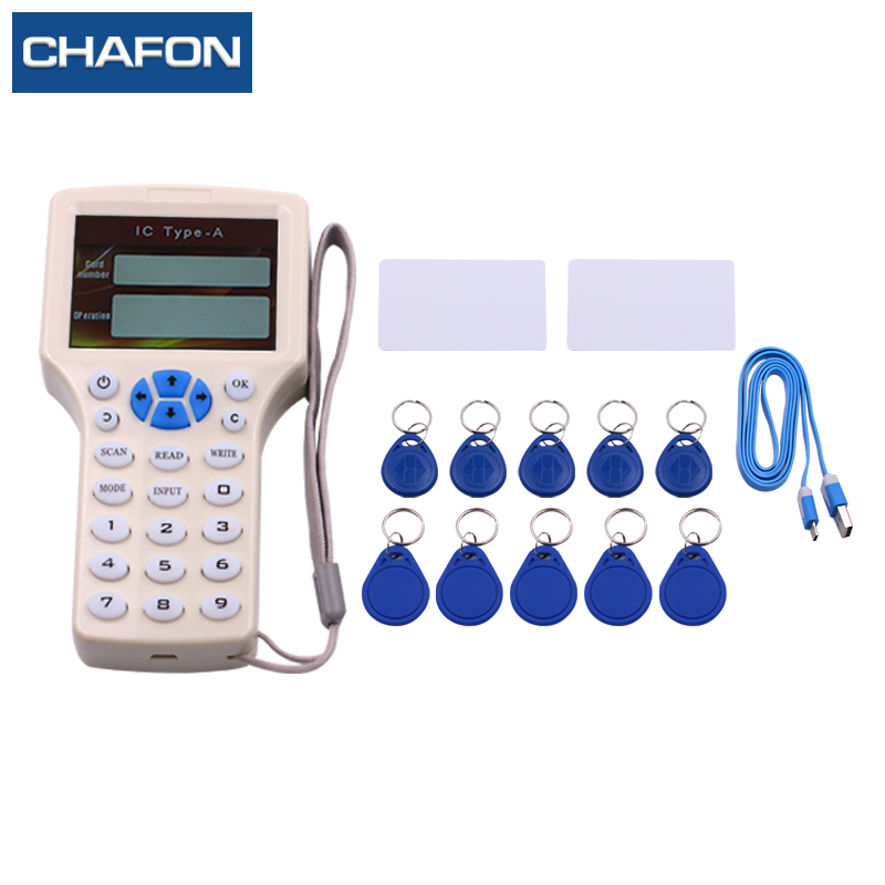 CHAFON English USB RFID NFC Copier IC/ID Reader/Writer/ Duplicator+ 5pcs ID EM4305 Keyfobs + 5pcs 13.56mhz UID Keyfobs