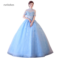 ruthshen robe de soiree Prom Dresses High Collar Tulle Dress Gown Long formal Dress robe soiree Women Blue Lace up frocks