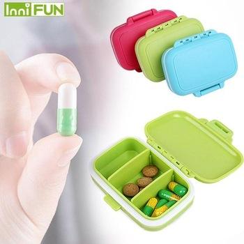 Przenośny Mini Pill Case pudełka na leki 3 siatki Travel Home leki medyczne Tablet pusty pojemnik do przechowywania w domu tanie i dobre opinie CN (pochodzenie) plastic A600 Pill Cases Splitters solid White Pink Orange Blue Green Red 0 5L pill case box pill case mini