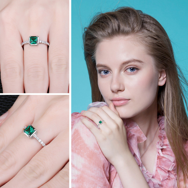 Green Emerald Solitaire Ring