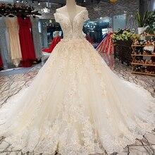 d58cb9369f Czy Dower proste luksusowe światła suknia ślubna w kolorze szampana kwiat  haft Lace Up z pociągu Slim suknia ślubna Robe De Mari.